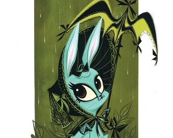 Dark Bunny Blue Giclée Print