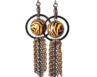 Tassel Tribal Statement Earrings,  Animal Print Jewelry in Tiger or Zebra Stripes