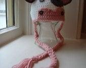 Cow Hat, Newborn Photo Prop, Girls Cow Hat, Baby Cow Hat, Crochet Animal Hat, Cow Crochet Hat, Farm Animal Hat, Newborn Cow Hat