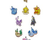 "Clear 1"" Eeveelution Charm Set"
