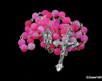 Traditional Rosary Pink Agate Frosted Effloresce Silver Hand Made Hot Pink