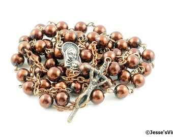 Catholic Rosary Beads Rustic Glass Pearl Copper Traditional Papal Five Decade