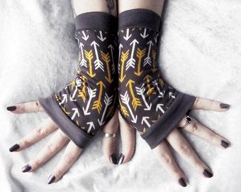 Aim and Focus Fingerless Gloves | Charcoal Grey w/ White & Mustard Yellow Arrows | Boho Yoga Belly Dance Dark Tribal Festival Rustic Hunt