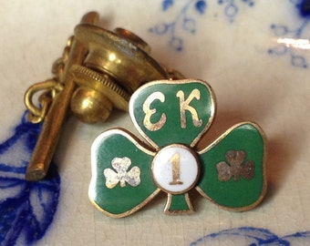 Enamel Shamrock Tie Pin Tie Tack – Irish 1960s Gold Fill 10K Man Jewelry