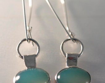 Seafoam Chalcedony and Sterling Silver Earrings