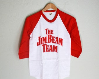 Vintage New Old Stock Jim Beam 3/4 Sleeve T Shirt - XS - Red