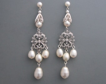 Vintage Inspired - Long Pearl Chandelier Earrings - Sterling Silver and Freshwater Pearls