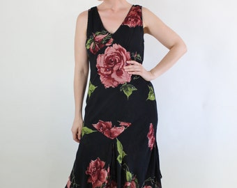 FREE SHIPPING Summer Dress, Floral, 90s does 20s, Bias, Little Black Dress, Festival, Sleeveless, Flapper, Wedding Guest, Size Medium