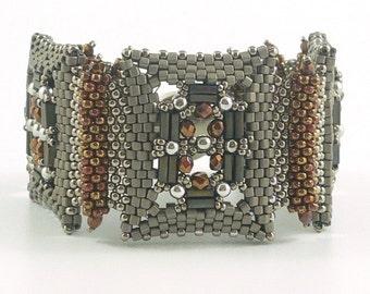 Deco Jewels beadweaving bracelet: Instant Downloadable Pattern PDF File