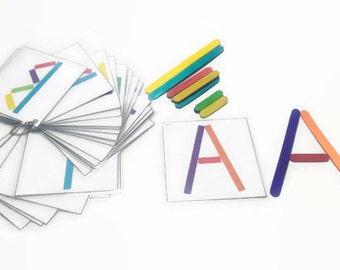 kindergarden learning alphabet, building letter game for preschoolers, long drive activity for preschool, travel busy bag, alphabet learning