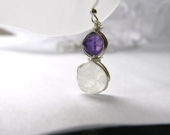 Druzy Earrings Amethyst Earrings. Gemstone earrings. Wire wrapped Designer Earrings.Wire Wrapping. Made in Maine. Deezines. Drusy earrings