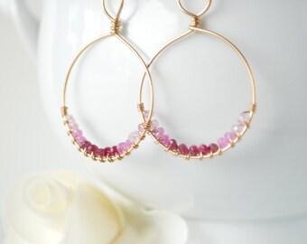 Shades of Ruby Hoop Earrings