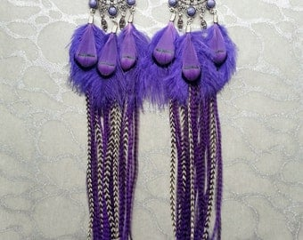 Long Purple Feather Earrings w Ornate findings, Charms - Black Stripes, Marabou Ostrich Pheasant Accents Resin Beads Brass Hoops Oriental