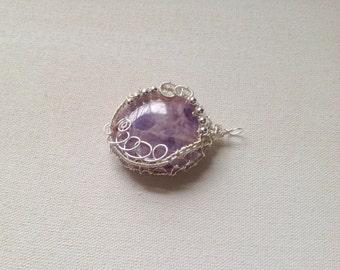 Amethyst pendant wirewrapped silver wire,gemstone pendant,
