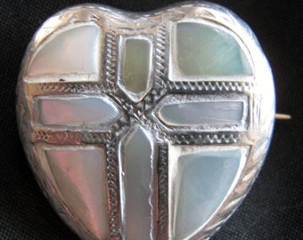Victorian Cross Brooch Mother of Pearl
