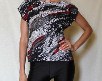 Abstract Vintage Shirt 90s Grunge Tee Black Paint Splatter Crop Top Red Size Medium