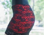 lace overlay mini skirt