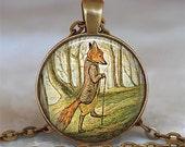 Tale of Mr. Tod Fox pendant, fox necklace, fox jewelry, fox jewellery, resin pendant, resin necklace fox keychain key chain key fob