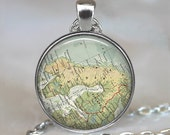 Nordic Countries map necklace, Scandinavia map necklace, Norway map, Sweden, Finland map pendant map keychain