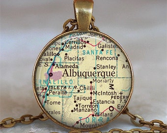 Albuquerque map pendant, Albuquerque necklace, Albuquerque pendant, Albuquerque keychain key chain, map jewelry resin pendant