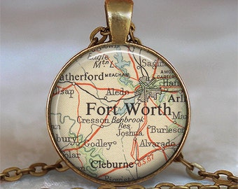 Ft. Worth, Texas map pendant, Ft Worth map necklace Ft Worth map pendant Fort Worth pendant Ft Worth keychain