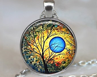 Blue Sun pendant, tree necklace, tree jewelry, sun jewelry, abstract art pendant, tree pendant tree keychain key chain