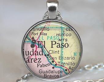 El Paso map necklace, El Paso necklace El Paso map pendant, El Paso pendant Ft Bliss map pendant, El Paso keychain key chain