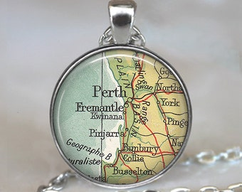 Perth map pendant, Perth, Australia map necklace, vintage map jewelry map jewellery Fremantle map, Perth keychain key chain