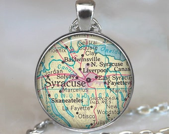 Syracuse map pendant, Syracuse map necklace, map jewelry Syracuse pendant Syracuse necklace Syracuse keychain key chain key fob