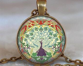 Art Nouveau Peacock pendant, peacock necklace, peacock jewelry, peacock jewellery peacock keychain key chain