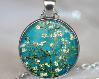 Van Gogh Almond Branch in Bloom art necklace, flower jewelry, flowering tree, Van Gogh art pendant keychain key chain