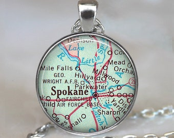 Spokane map necklace, Spokane necklace, Spokane pendant, Spokane Washington map pendant, map jewelry keychain
