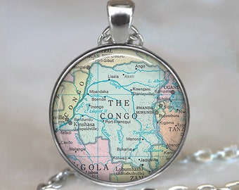 Congo map necklace, Congo map pendant, Congo necklace, Congo pendant, map jewelry Congo keychain key chain
