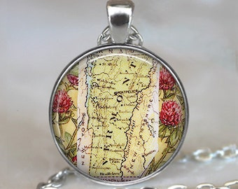 Vermont map necklace, Vermont map pendant, Vermont necklace, Vermont pendant, map jewelry, keychain key chain