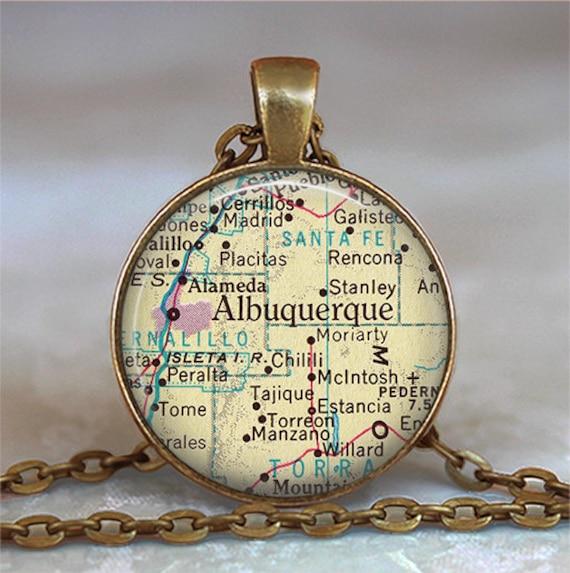 Albuquerque map pendant, Albuquerque necklace, Albuquerque pendant, Albuquerque keychain key chain, map jewelry resin pendant