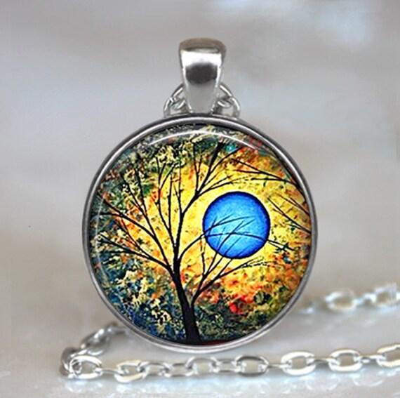 Blue Sun pendant, tree necklace, tree jewelry, sun jewelry, abstract art pendant, tree pendant tree keychain key chain