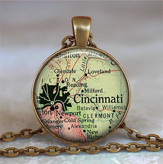 Cincinnati map necklace, Cincinnati pendant Cincinnati map pendant, Cincinnati necklace, keychain key ring key fob
