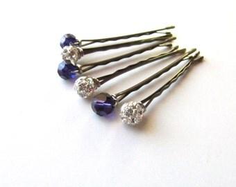 Dark Purple and Silver Crystal Wedding Hair Pin Mixed Set