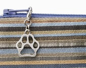 Paw print charm for zipper pull makes a small dog lover gift - personalized bag hardware in silver