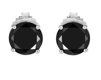 Fancy Black Diamond Stud Earrings 950 Platinum Certified 3.00 Carat Handmade Earrings