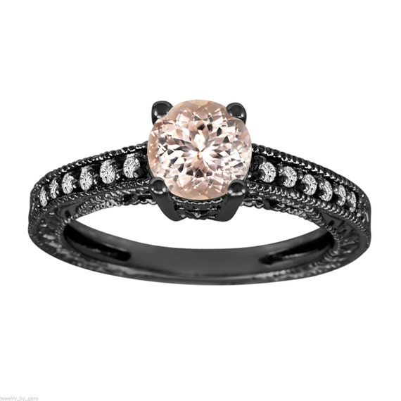 Morganite & Diamond Engagement Ring Vintage Style 14K Black