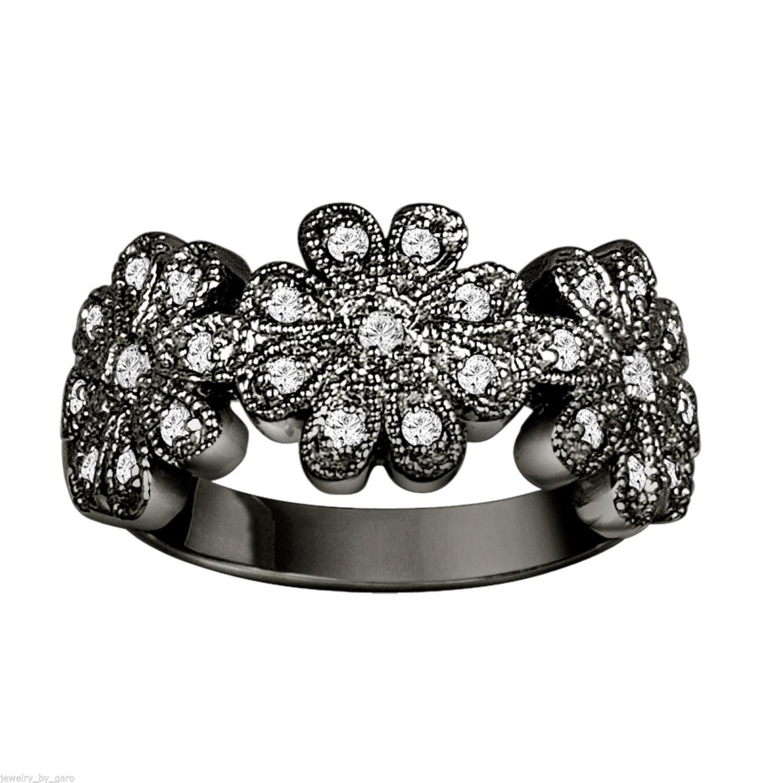 Flower Diamond Engagement Cocktail Ring Vintage by JewelryByGaro