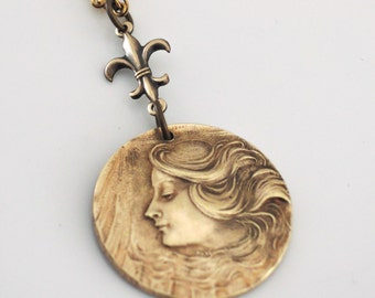 Art Nouveau Necklace -Vintage Necklace -  Mucha Woman - Brass Jewelry - handmade jewelry