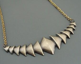 Vintage Necklace -  Collar Necklace - Bohemian Necklace - Steampunk Necklace - Vintage Brass jewelry - Geometric Necklace - handmade jewelry