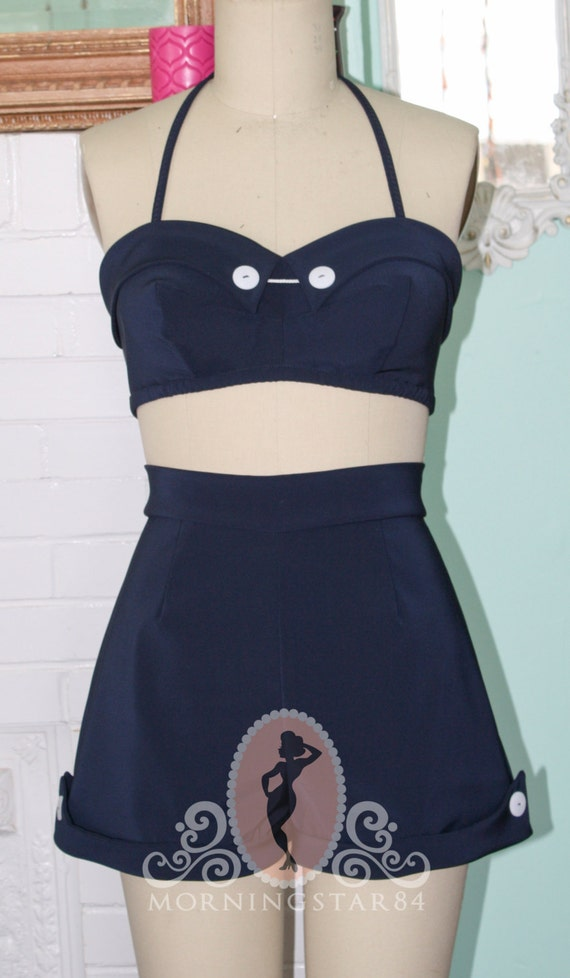 1950s Style Swimsuits, Bathing Suits, Swimwear Pinup Sunsuit- 1950s  Marilyn Style 50s Bikini Plus Halter Shorts High Waist Custom Made to Order Any Size $145.00 AT vintagedancer.com
