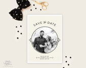 SAVE THE DATE - Pins Modern Circle Design with Linear Graphic Patterned Backer Save the Date Cards by Sincerely, Jackie