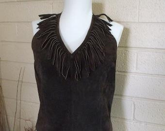 Leather Halter - NewPortNews. Easy Style -Brown -  Fringe - V Neckline - Sz 12 - Silk Lining - Zipper - Vintage - Jeans - Summer - #1282