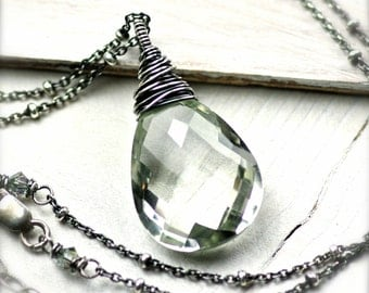Large Beautiful Wire Wrapped Green Amethyst Gemstone Necklace in Oxidized Sterling Silver