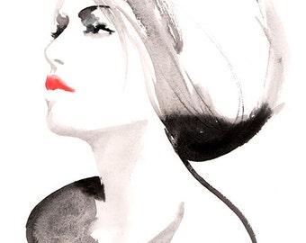 Fashion Illustration, Fashion Print, Red lips, Watercolour Fashion Sketch, Fashion Wall Art, Fashion Poster, Fashion sketch
