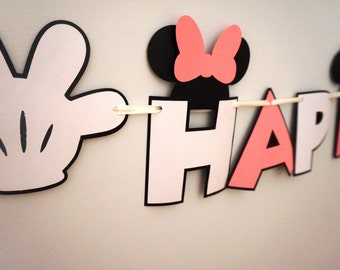 Minnie Mouse Inspired Birthday Banner - MADE TO ORDER